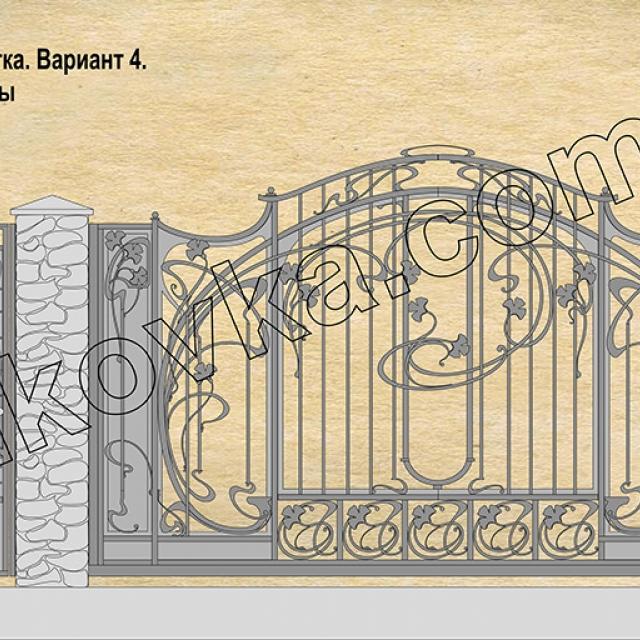 Проект кованых откатных ворот Романков, Киевская область