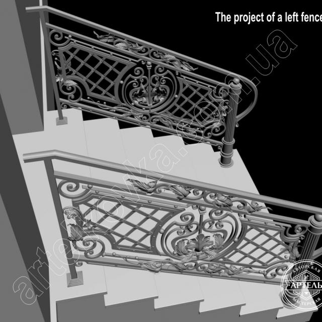3д модель лестничного ограждения