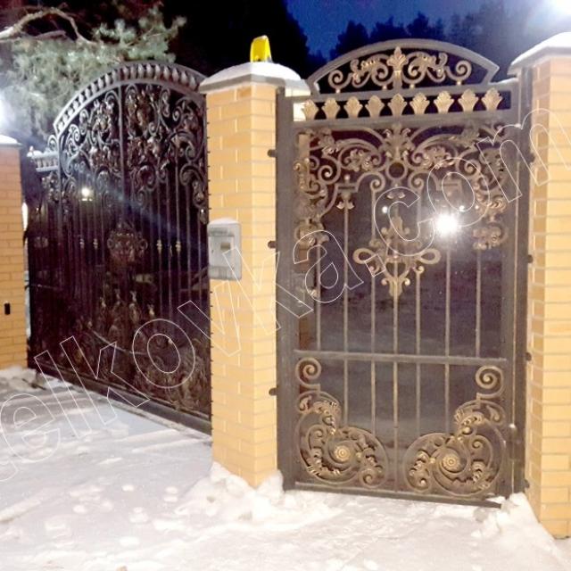 Кованые ворота и кованая калитка