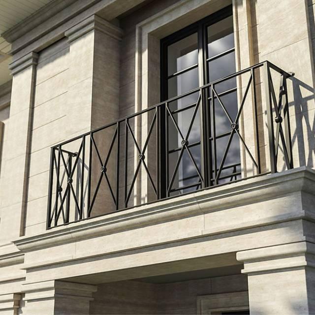 Стильные кованые перила балкона