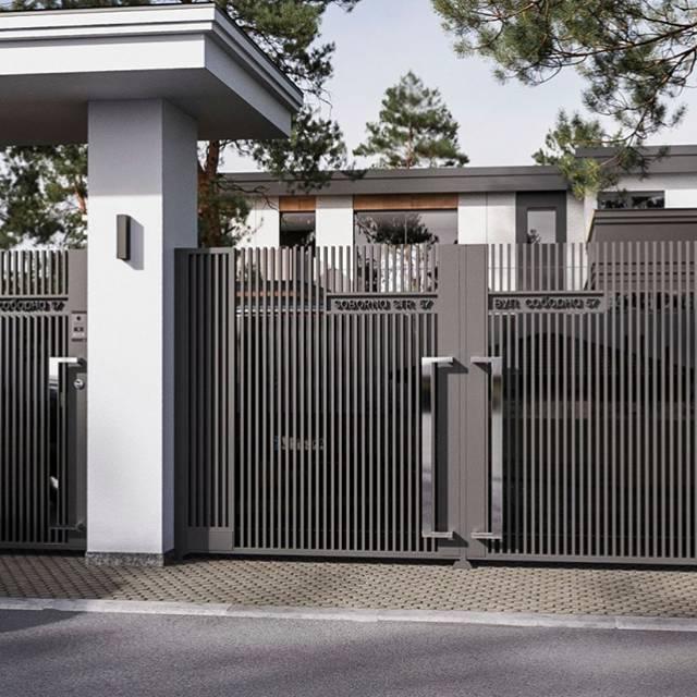 Красивые распашные ворота с автоматикой