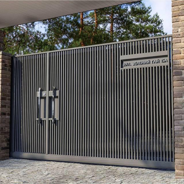 Кованые откатные ворота с калиткой